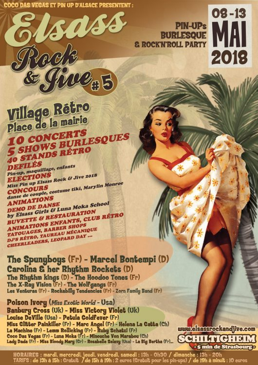 affiche elsass rock jive festival schiltigheim village rétro